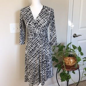 Black and white dress with quarter length sleeves